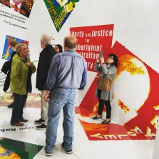Inside the Lego installation - studying the comments made by various activisits in Australia.