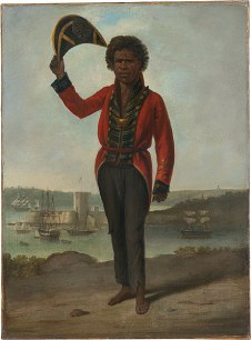 Augustus Earle (1793─1838), Portrait of Bungaree, a Native of New South Wales, with Fort Macquarie, Sydney Harbour, in Background c.