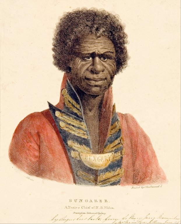 Bungaree, a native of N.S.Wales, lithograph, hand-coloured with watercolour, on paper by Augustus Earle. Image: Augustus Earle